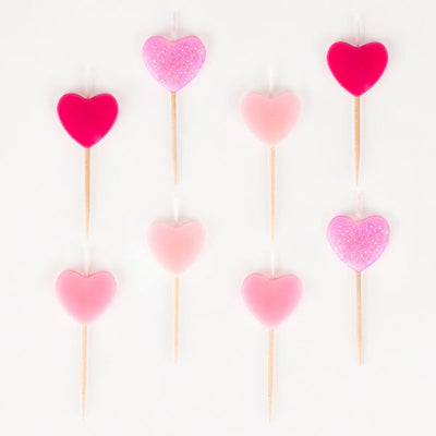 Pink Heart Party Candles (Pack of 8)