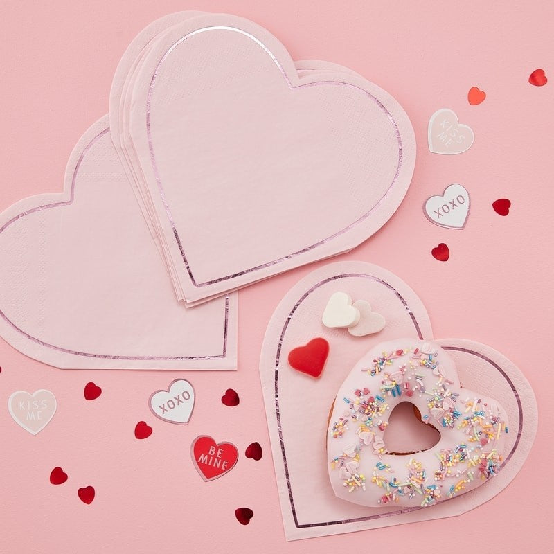 Pink Heart Shaped Paper Napkins (Pack of 16)