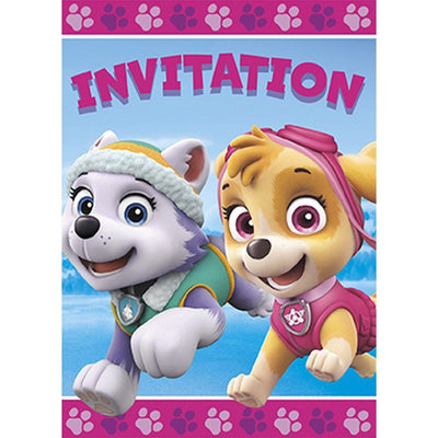 Paw Patrol Pink Party Invitations (Pack of 8)