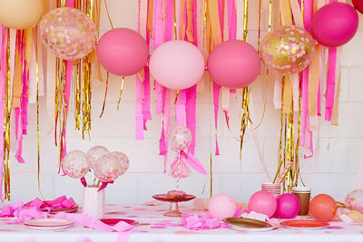 Pink Shimmer Streamers Backdrop