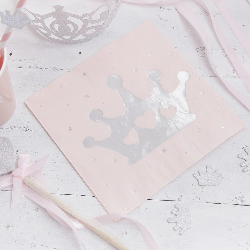 Pink & Silver Foil Tiara Napkins (Pack of 16)