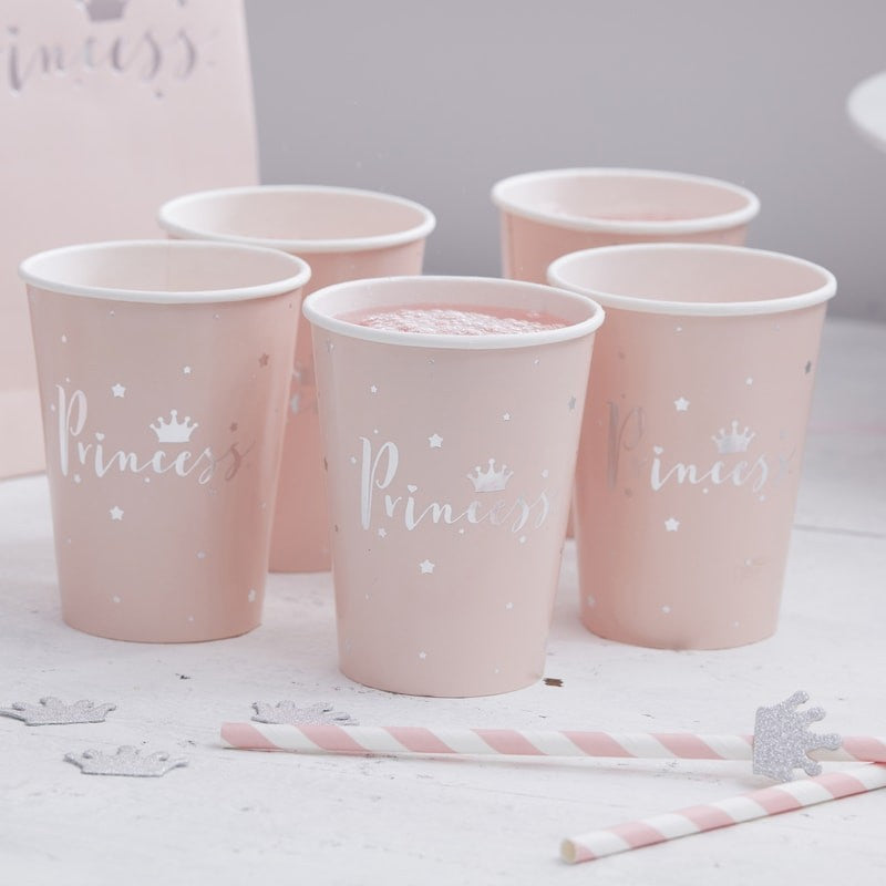 Pink & Silver Foil Princess Cups (Pack of 8)