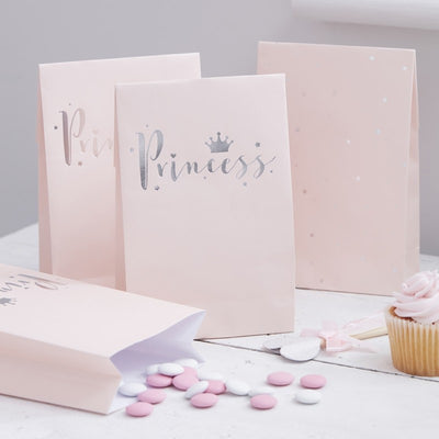 Pink & Silver Foil Princess Party Bags (Pack of 8)