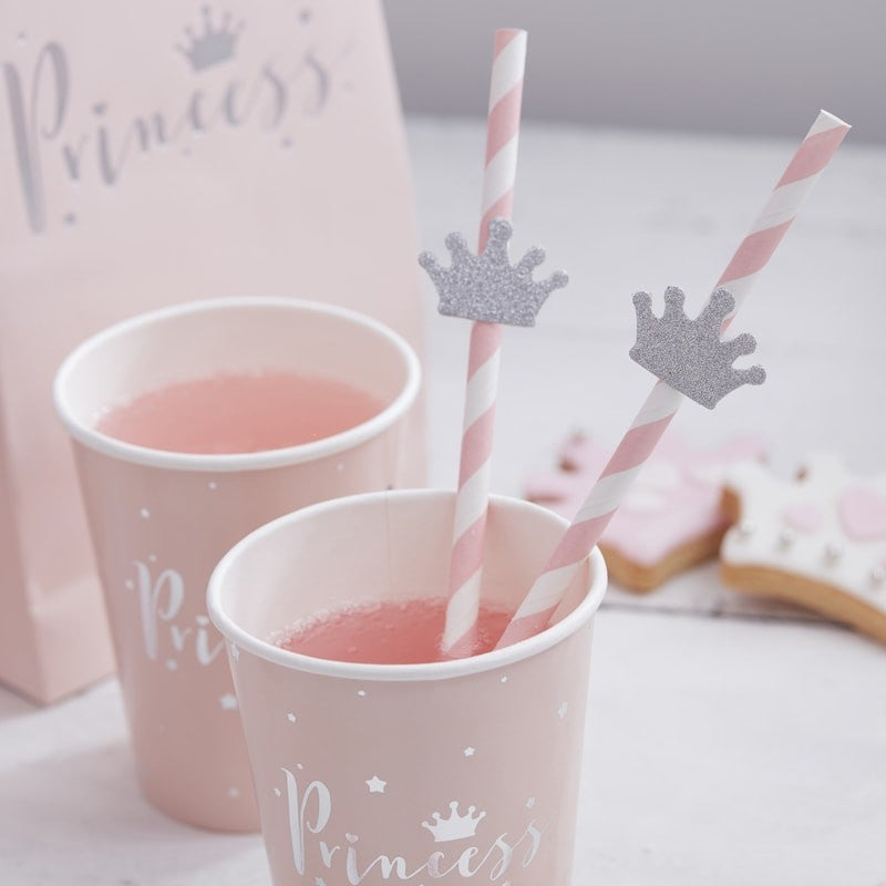 Silver Glitter Tiara Paper Straws (Pack of 16)