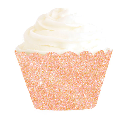 Rose Gold Glitter Cupcake Wrappers (Pack of 12)