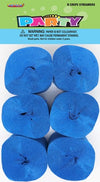 Crepe Streamers - Royal Blue (Pack of 6)