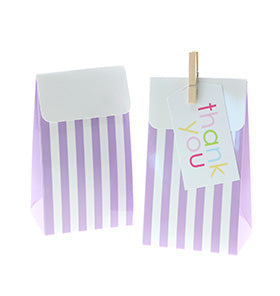 Lavender Stripe Treat Boxes (Pack of 12)