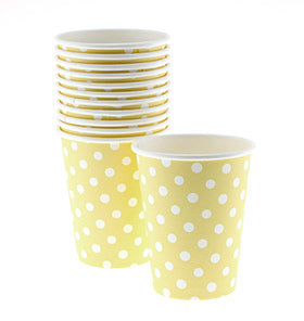 Yellow Polkadot Cups (Pack of 12)