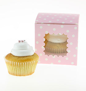 Pink Polkadot Cupcake Boxes (Pack of 6)