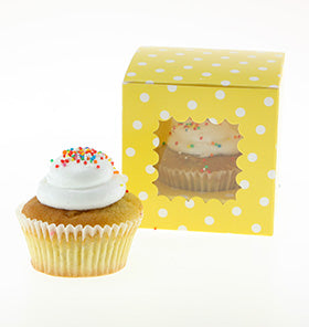 Yellow Polkadot Cupcake Boxes (Pack of 6)