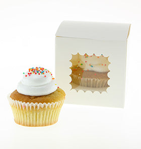 White Scallop Cupcake Boxes (Pack of 6)