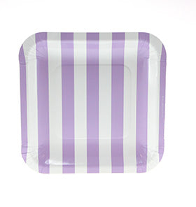 Lavender Candy Stripe Plates (Pack of 12)