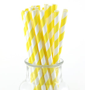 Yellow Striped Paper Straws (Pack of 24)