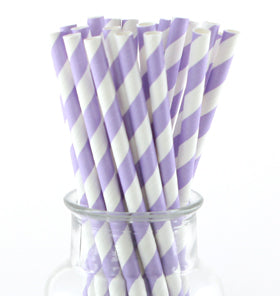Lavender Striped Paper Straws (Pack of 24)