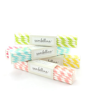 Pale Pink Striped Paper Straws (Pack of 24)