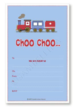 Train Party Invitations (Pack of 12)