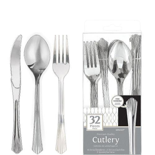 Silver Premium Fan Handle Cutlery Set (Pack of 32)