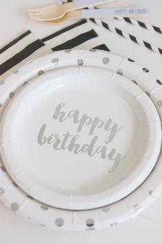 Silver Foil Happy Birthday Cake Plates (Pack of 12)