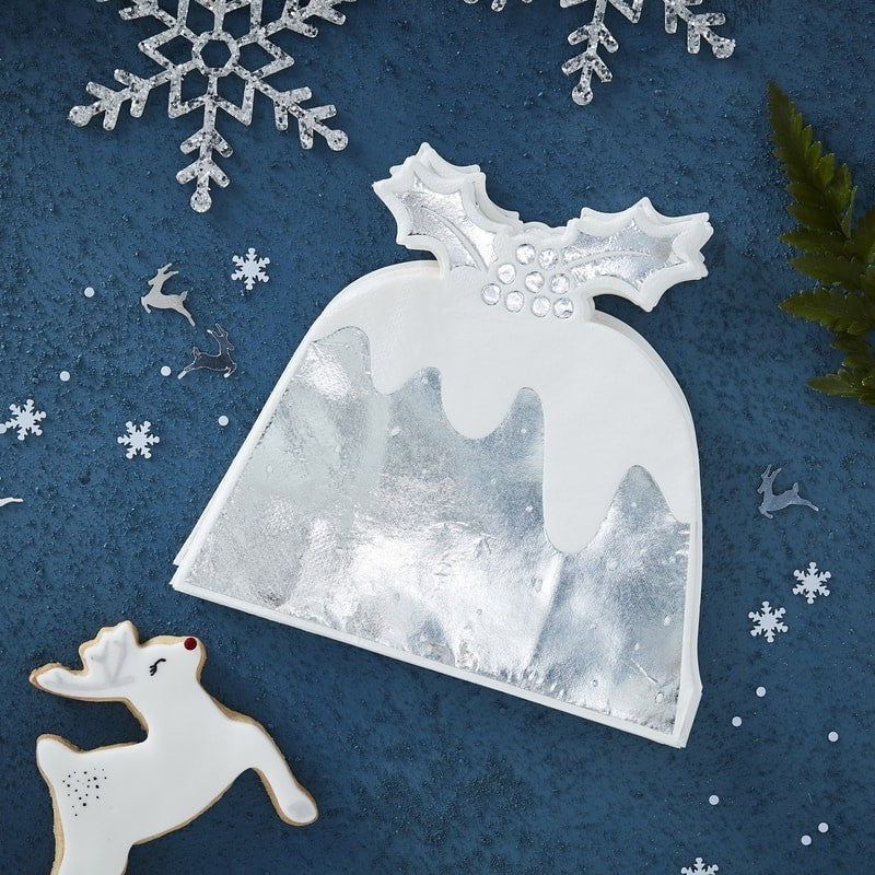 Silver Foil Christmas Pudding Paper Napkins (Pack of 10)