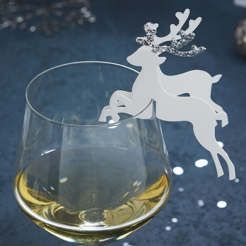 Silver Glitter Reindeer Glass Decoration (Pack of 10)