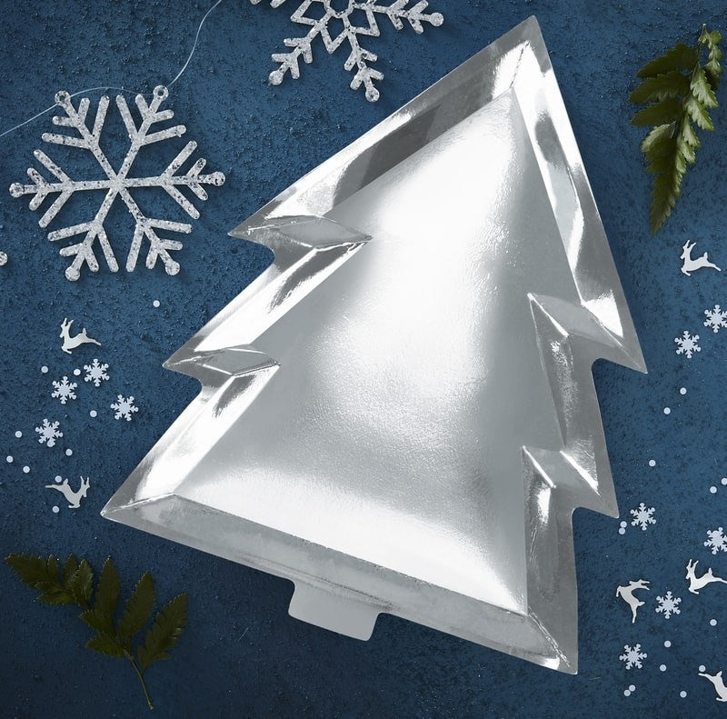 Silver Foil Christmas Tree Shape Plates (Pack of 6)