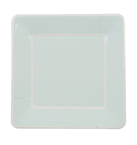 Soft Blue with White Border Large Plates (Pack of 12)