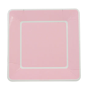 Soft Pink with White Border Large Plates (Pack of 12)