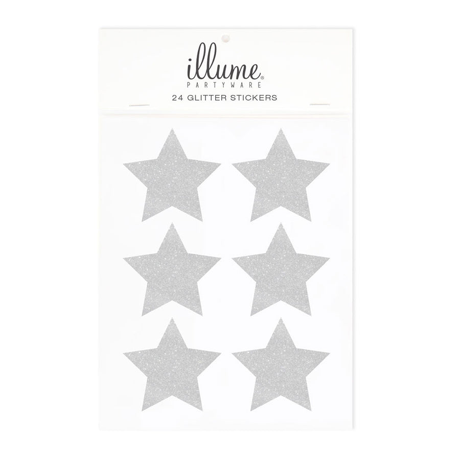Silver Glitter Star Sticker Seals (Pack of 24)