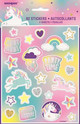 Unicorn Party Sticker Sheets (92 Stickers)