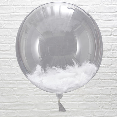 Large White Feather Filled Orb Balloons (Pack of 3)