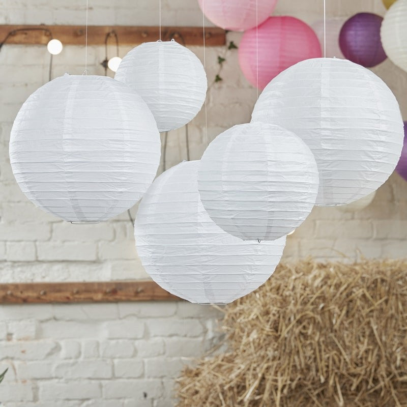 White Paper Lanterns (Pack of 5)
