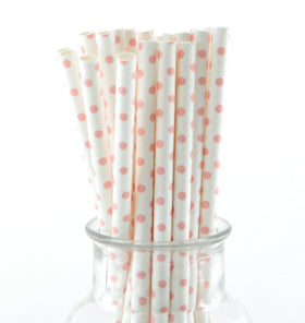 White Pink Polkadot Paper Straws (Pack of 24)