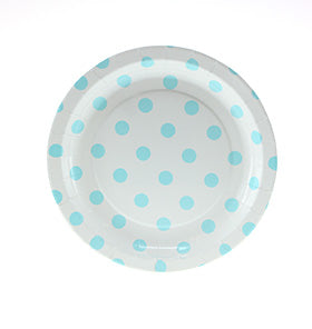 White with Blue Polkadot Cake Plates (Pack of 12)