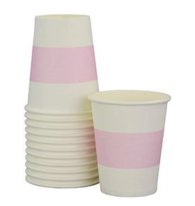 White with Soft Pink Stripe Cups (Pack of 12)