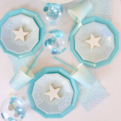Blue Iridescent Dessert Plates (Pack of 10)