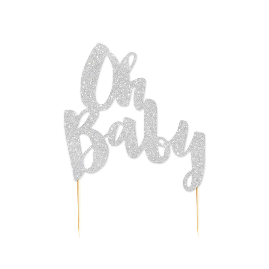 Oh Baby Silver Glitter Cake Topper