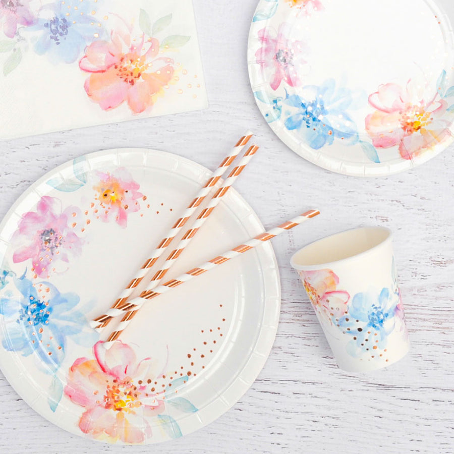 Floral Large Plates (Pack of 10)