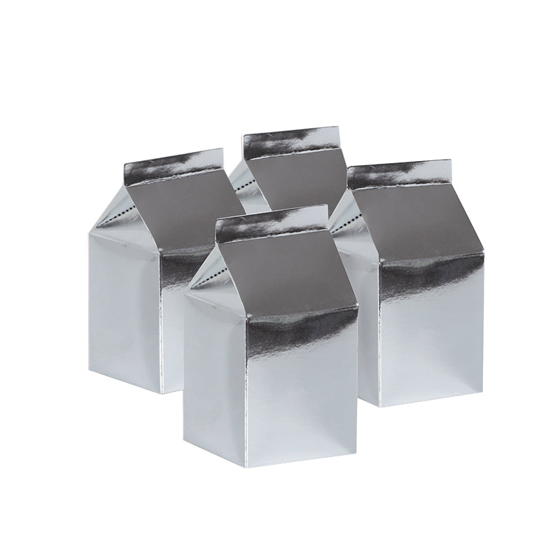 Metallic Silver Milk Boxes (Pack of 10)