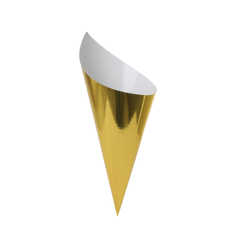 Metallic Gold Snack Cones (Pack of 10)