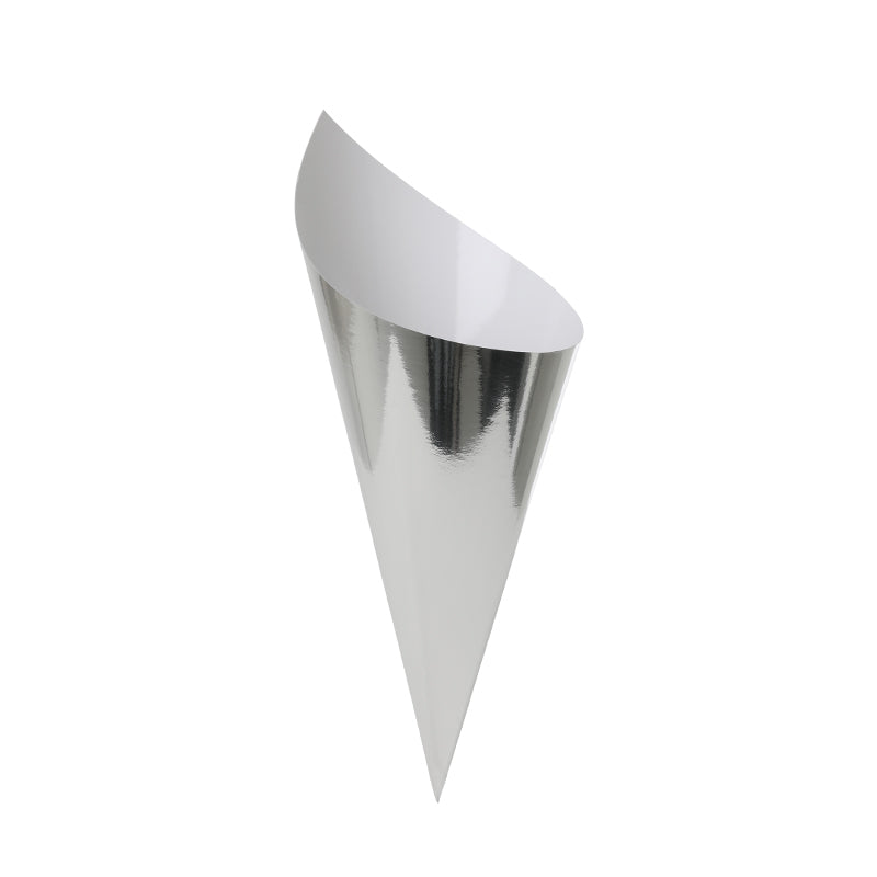 Metallic Silver Snack Cones (Pack of 10)