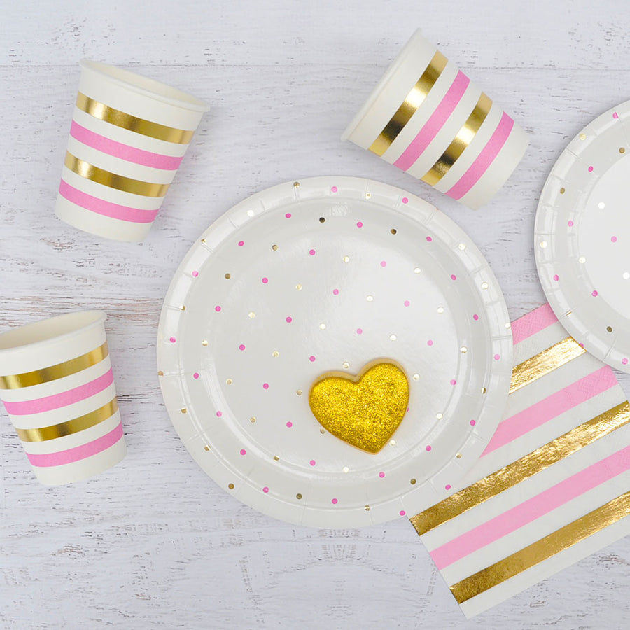 Gold & Pink Dots - Large Plates (Pack of 10)