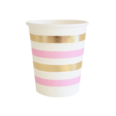 Gold & Pink Stripe Cups (Pack of 10)