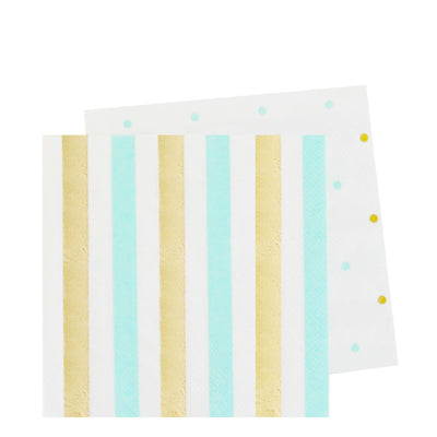 Gold & Mint, Stripes & Dots Cocktail Napkins (Pack of 20)