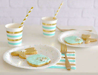 Gold & Mint Dots - Large Plates (Pack of 10)