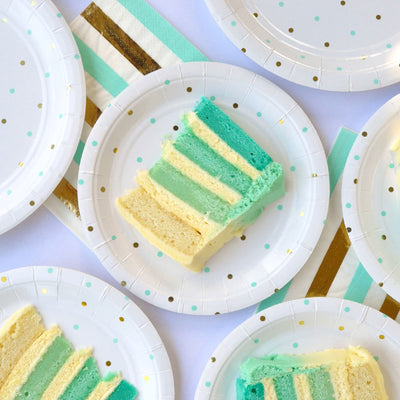 Gold & Mint Dots - Dessert Plates (Pack of 10)
