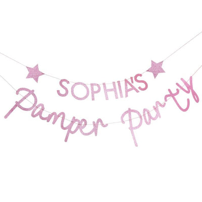 Pink Glitter Customizable Pamper Party Banner