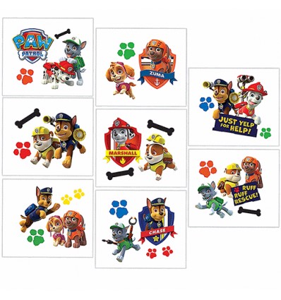 Paw Patrol Tattoo Party Favours (8 Tattoos)