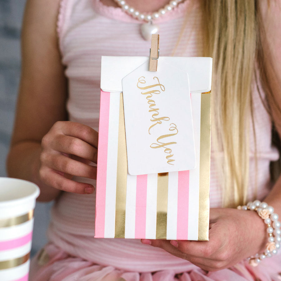 Gold & Pink, Stripes & Dots - Treat Bags (Pack of 10)