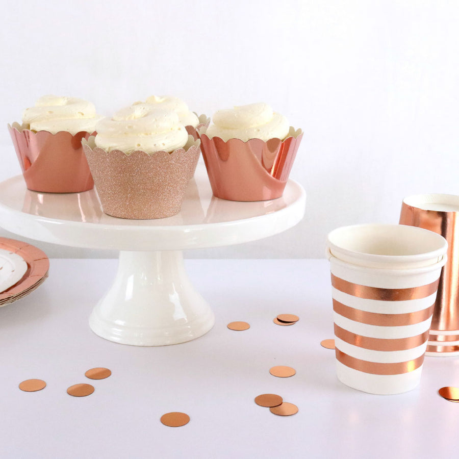 Rose Gold Foil Cupcake Wrappers (Pack of 12)
