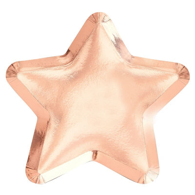 Rose Gold Star Shaped Plates (Pack of 8)